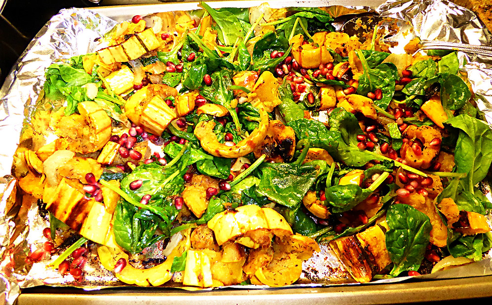 Roasted Delicata Squash and Spinach