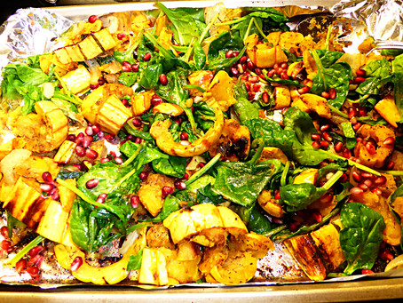 One-Pan Vegetable Dish:  Delicata Squash and Spinach