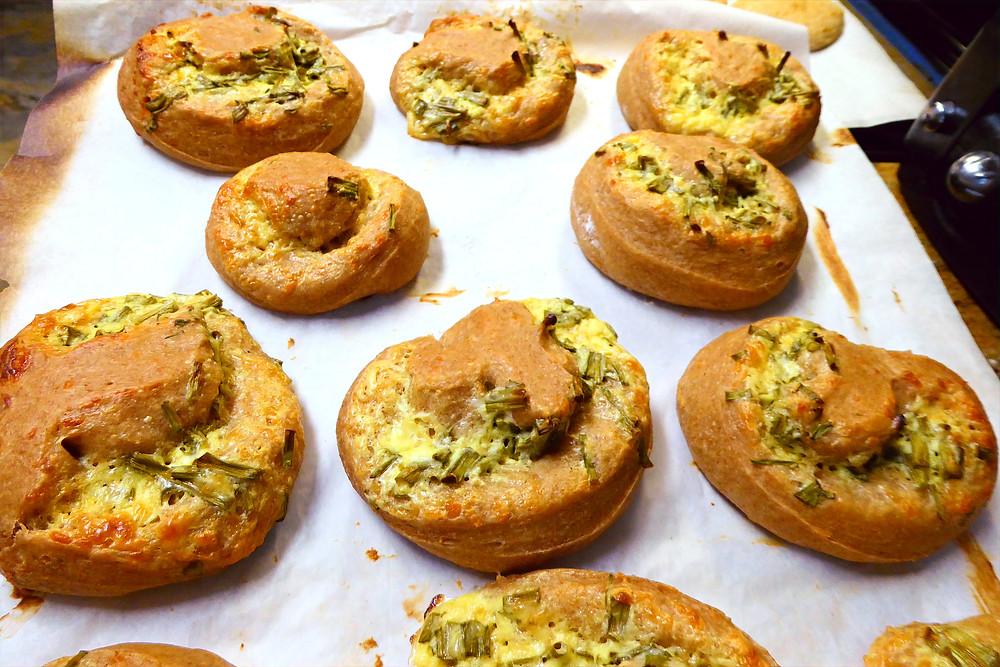Have Discard?  Make Sourdough Chive Parmesan Twirl Buns