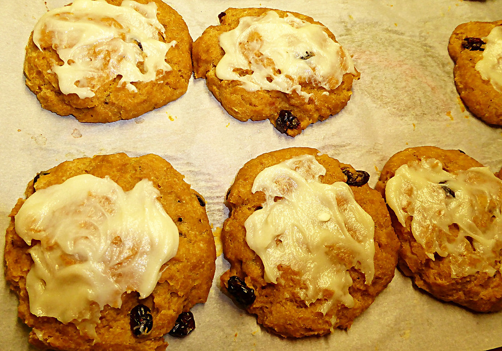 Sourdough Discard Pumpkin Scones or Buns with White Chocolate and Cream Cheese Frosting