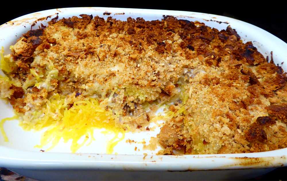 Good and Cheap:  Spaghetti Squash Bake Without Tomatoes