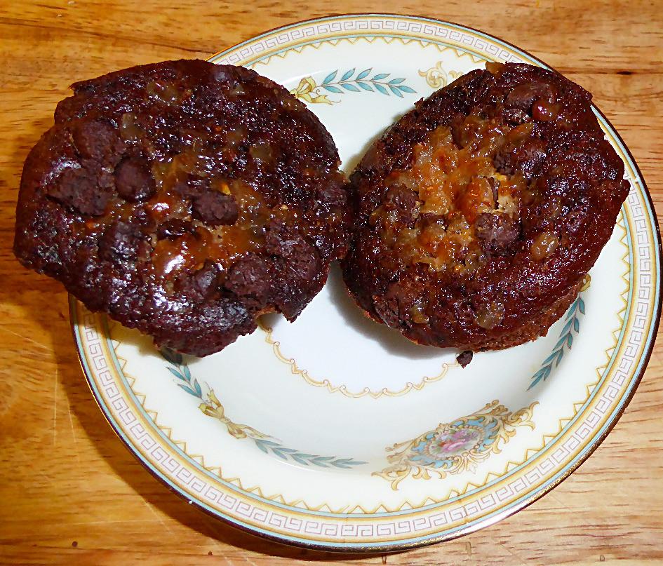 Air Fryer Chocolate Toffee Cupcakes