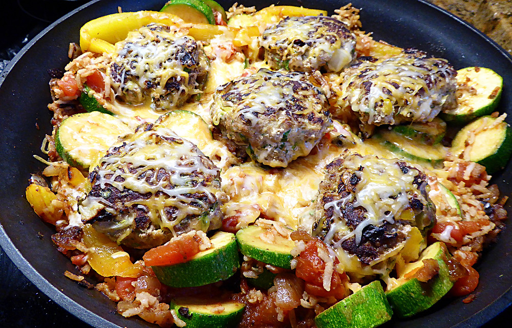 Turkey Taco Burgers with Vegetables and Rice