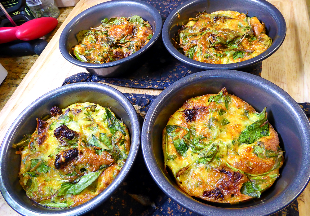 Air Fryer Mini Frittatas Spinach and Sun Dried Tomatoes