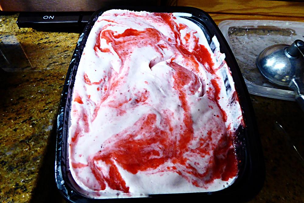 Homemade Strawberry Ripple Ice Cream