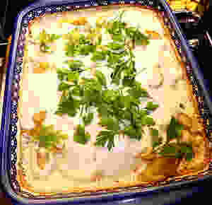 Lamb and Potato Bake with Tahini Sauce