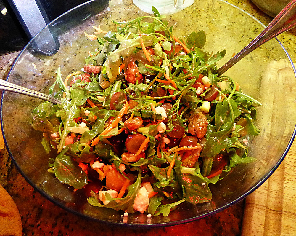 Grape, Plum, and Arugula Salad with Candied Pecans
