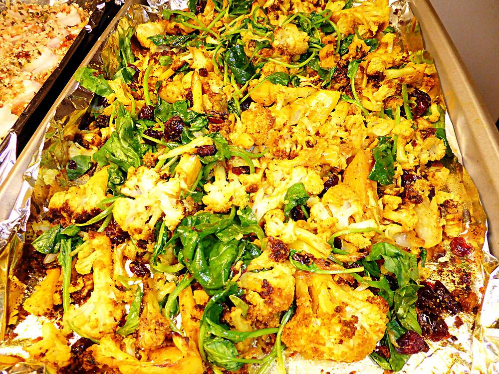 Tumeric Roasted Cauliflower with Spinach