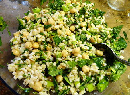 No-Meat Protein Salad:  Barley with Chickpeas