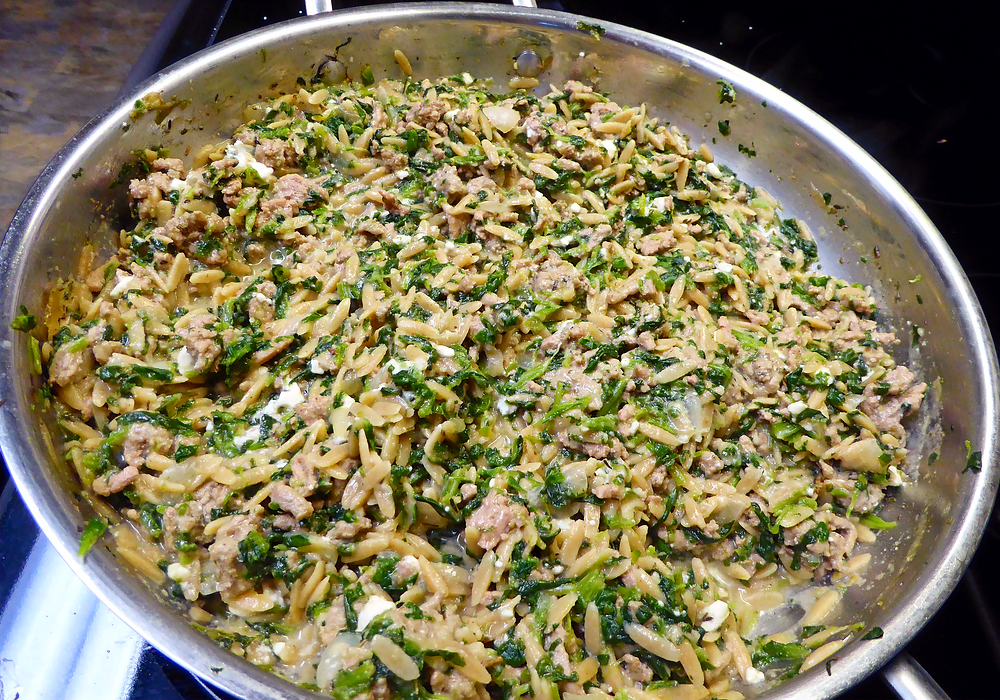 Too Tired to Cook Dinner?  Make a Ground Turkey and Orzo Skillet Meal
