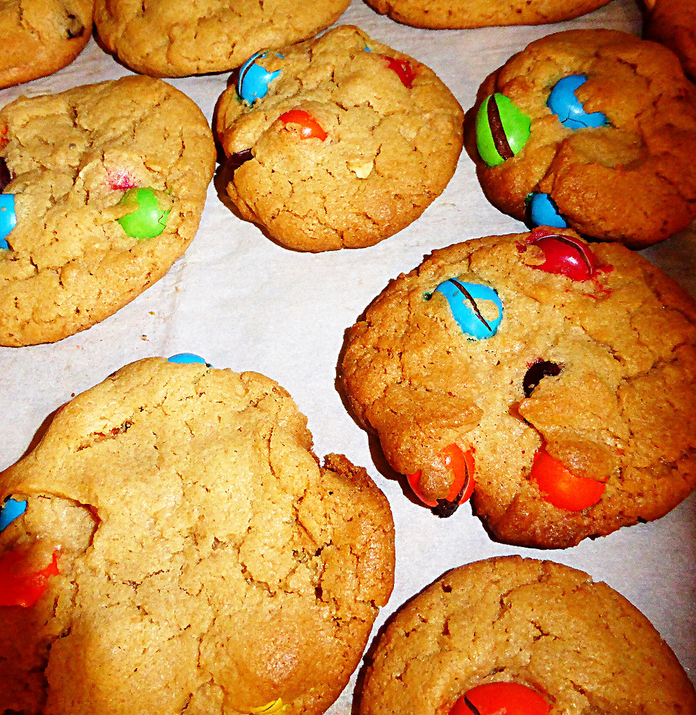 Peanut Butter and Peanut M&M Cookies