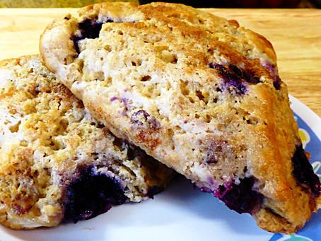 Monday Treat:  Whole-Wheat Blueberry Sourdough Scones