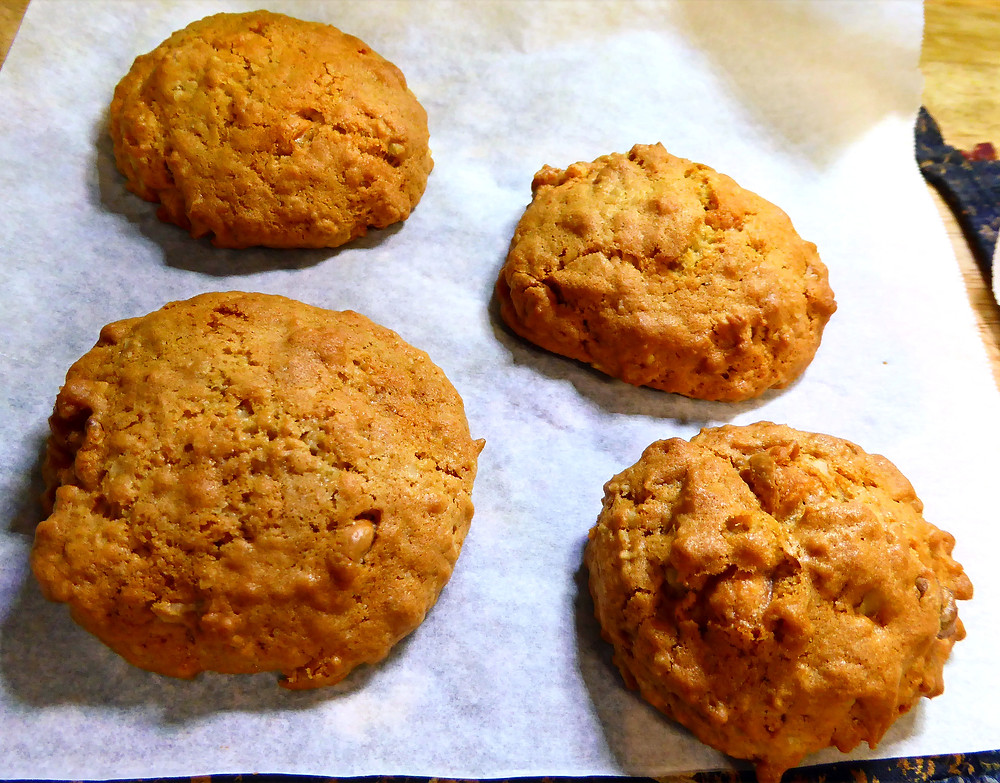 Air Fryer Caramel Walnut Cookies with Oatmeal and Butterscotch Chips
