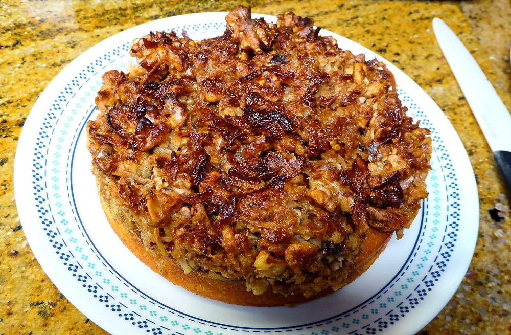 Air Fryer Hot Milk Cake With Nut, Coconut, and Brown Sugar Topping