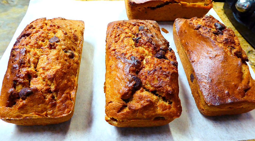 Too Hot to Bake?  Make Peanut Butter, Banana, Chocolate Chip Breads in Your Air Fryer