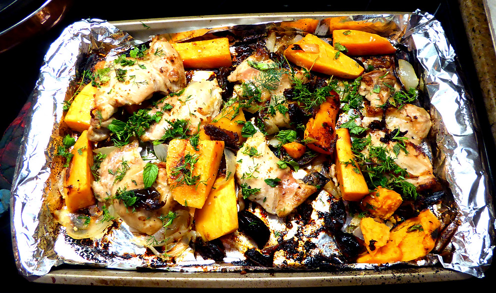 Chicken Thighs with Dates and Sweet Potatoes