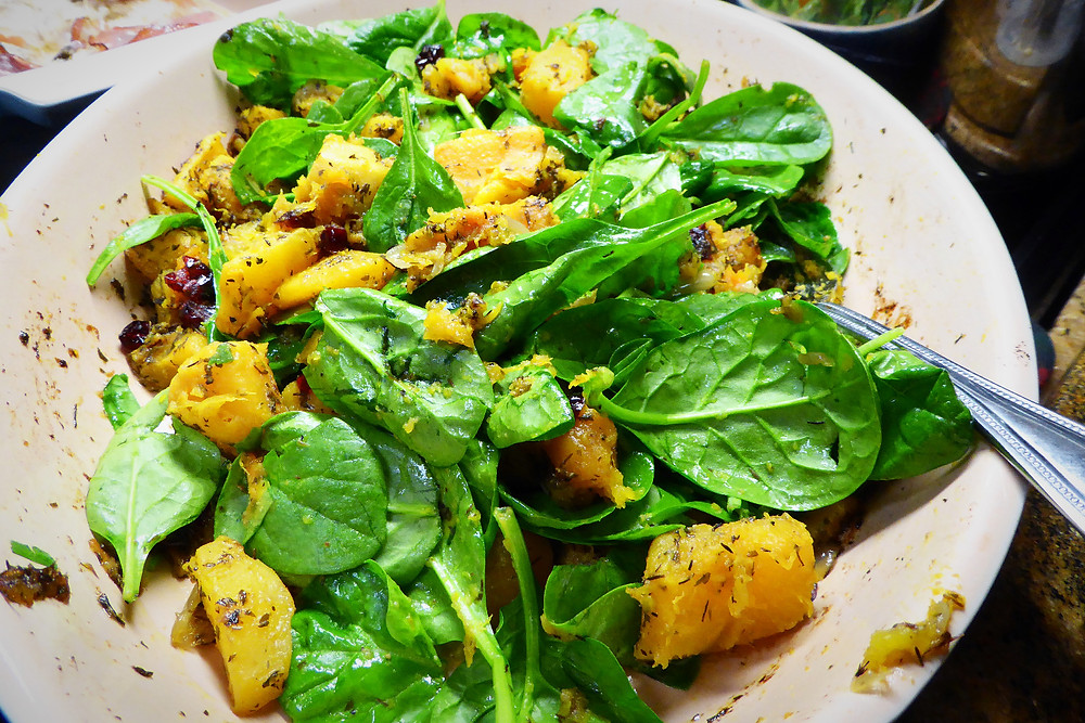 Roasted Butternut Squash and Spinach with Cranberries