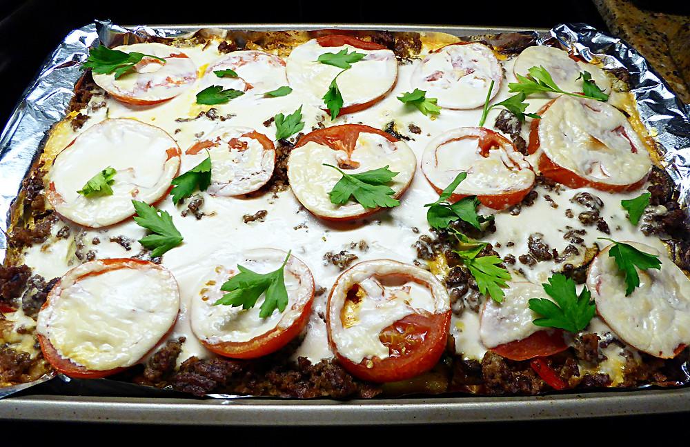 Mediterranean Vegetable-Beef Bake with Tahini Sauce