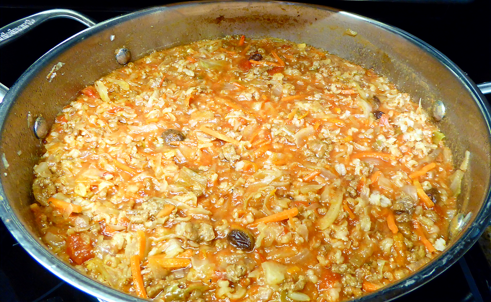 Cabbage Soup With Cole Slaw Mix, Ground Turkey, Spices, Crushed Tomatoes, Raisins