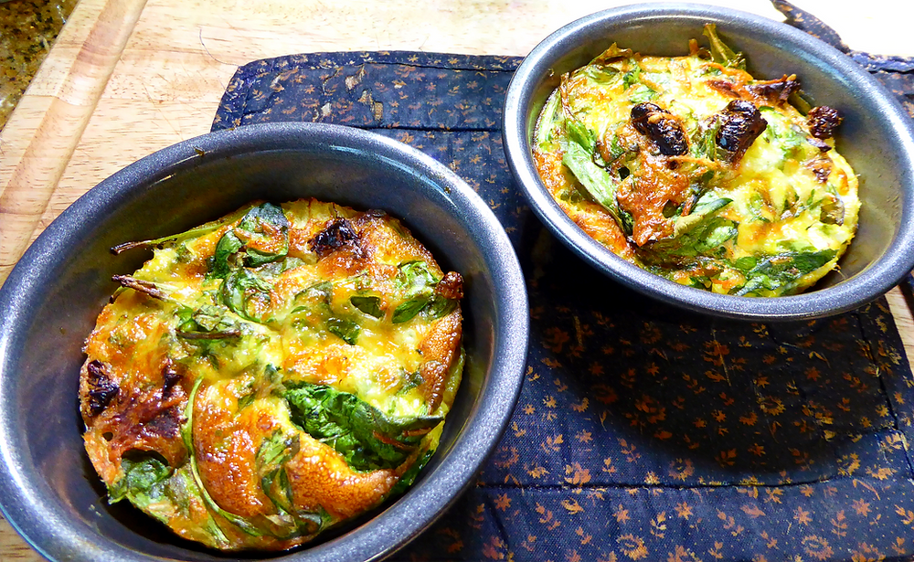 Air Fryer Spinach and Sun Dried Tomato Frittatas