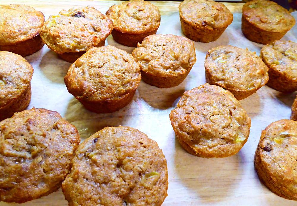 Sourdough Discard Banana Raisin Bran Muffins With Coconut