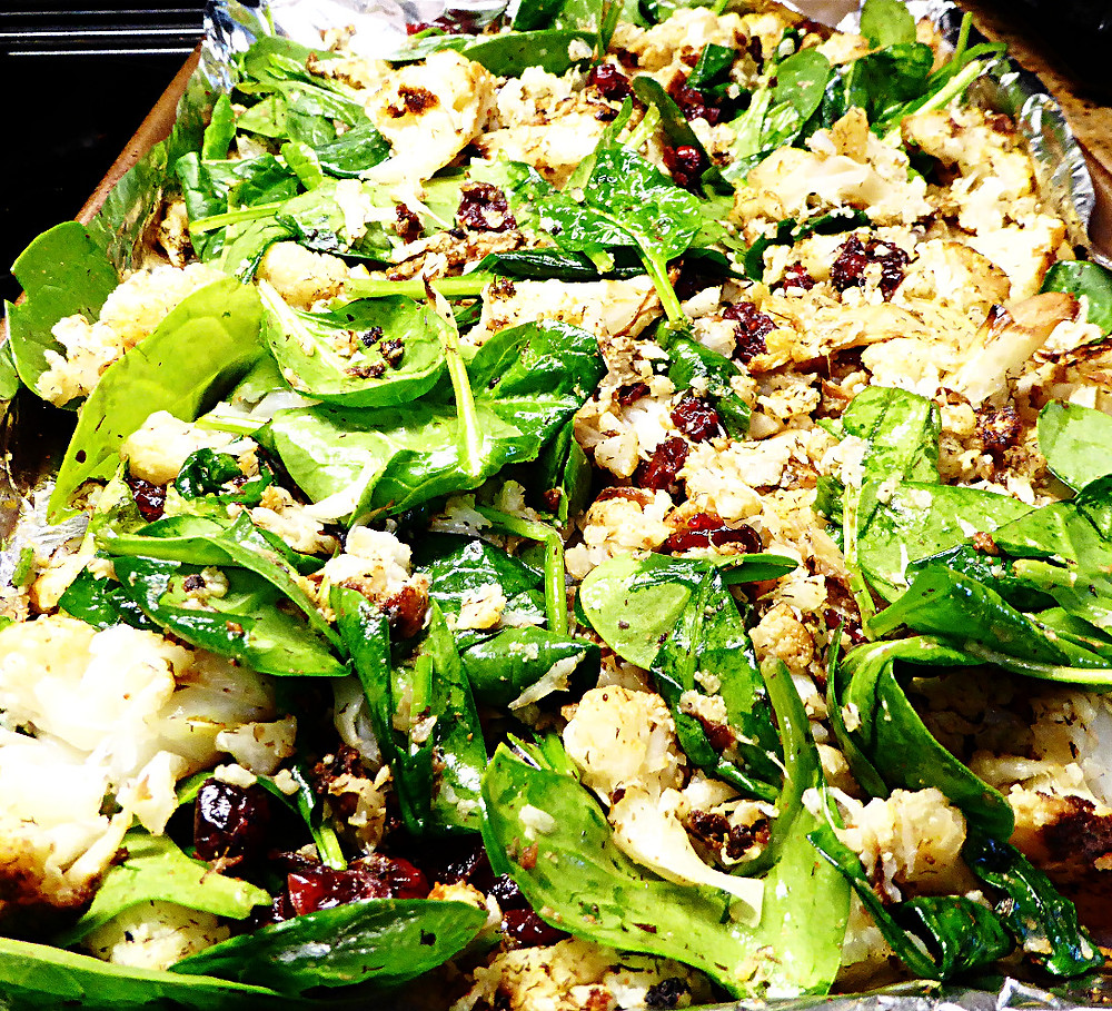 Roasted Cauliflower and Spinach with Cranberries