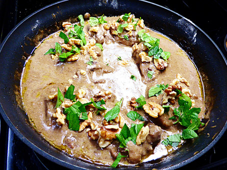 Healthy and Cheap:  Pomegranate Chicken Thighs with Mint and Walnuts