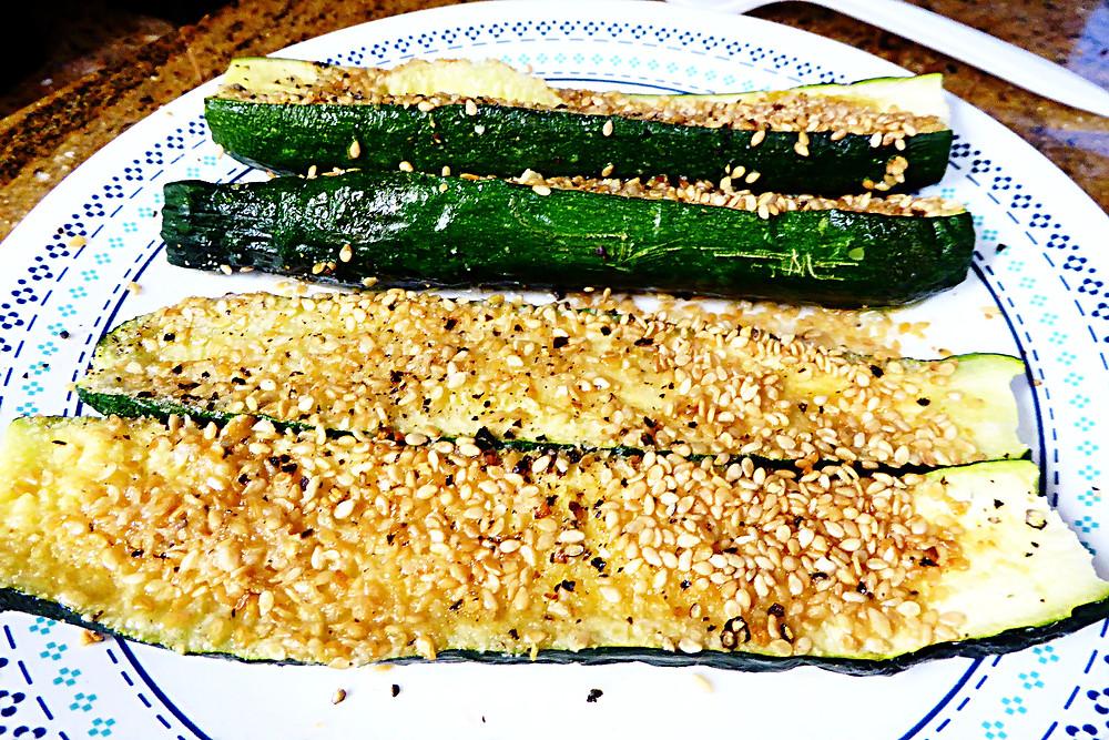 Microwave Sesame Zucchini