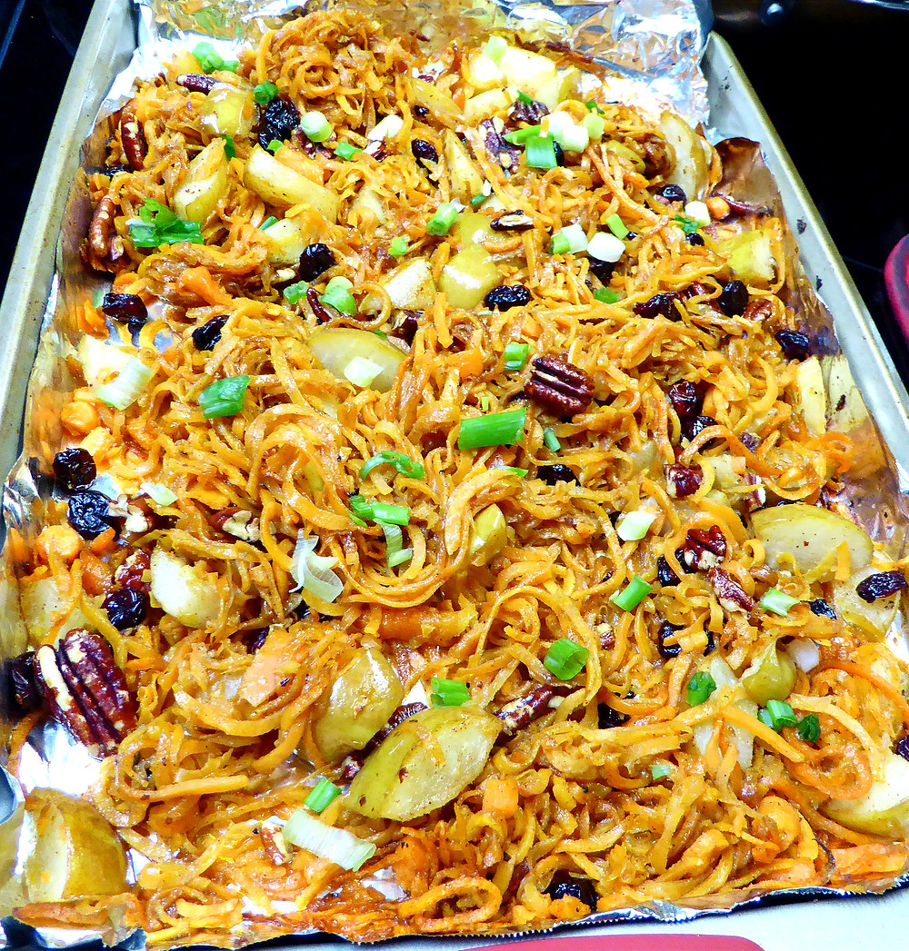 Sweet potato noodles with pears, onions, pecans, and dried cranberries