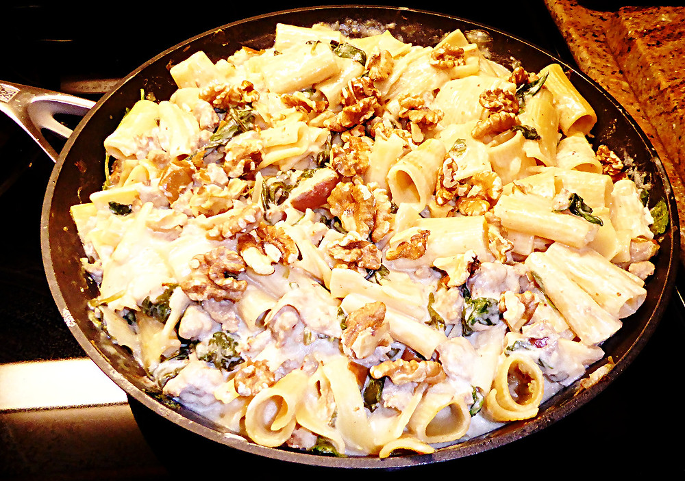 Pasta with Sausage, Pears, and Goat Cheese