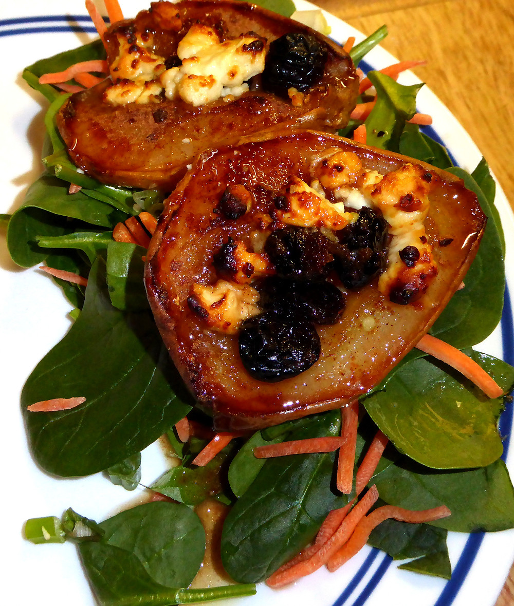 Air Fryer Pear, Spinach, and Goat Cheese Salad