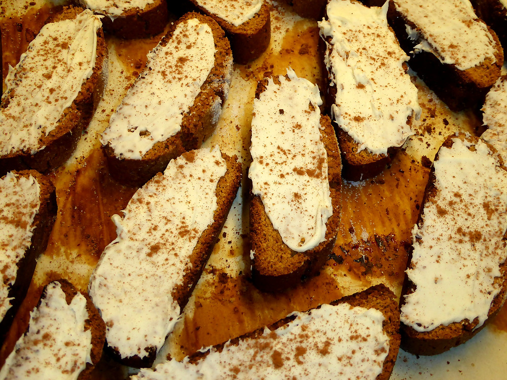 Gingerbread Biscotti with White Chocolate Glaze