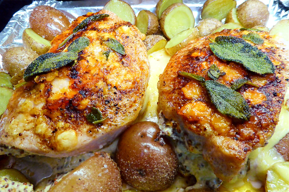 Baked Mustard, Bacon, and Sage Stuffed Pork Chops with Potatoes