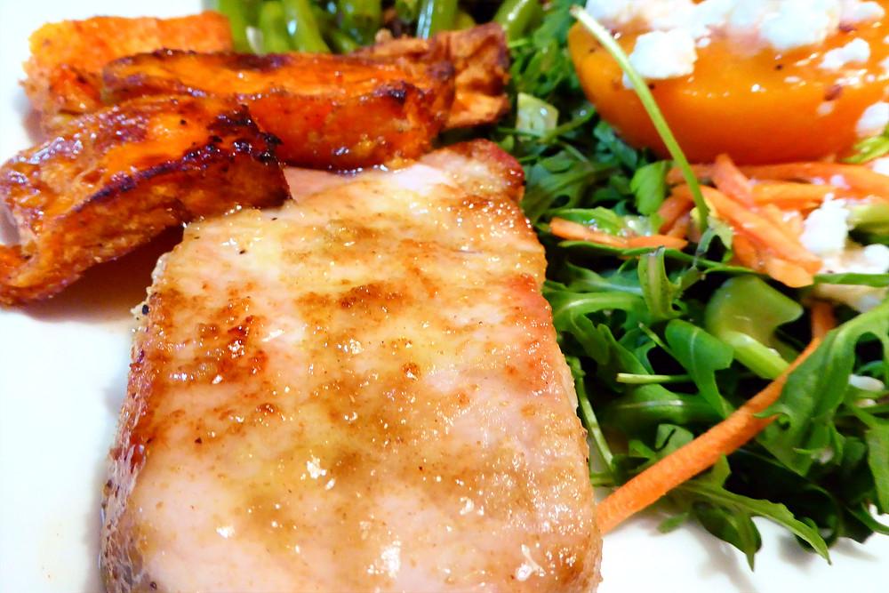 Make Honey-Lemon Pork Chops With Sweet Potatoes in Your Air Fryer