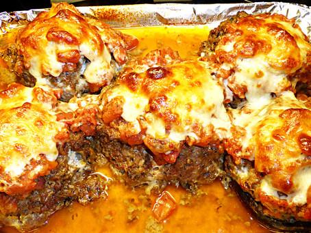 Frugal Supper:  Turkey Parmesan Stuffed Mushrooms