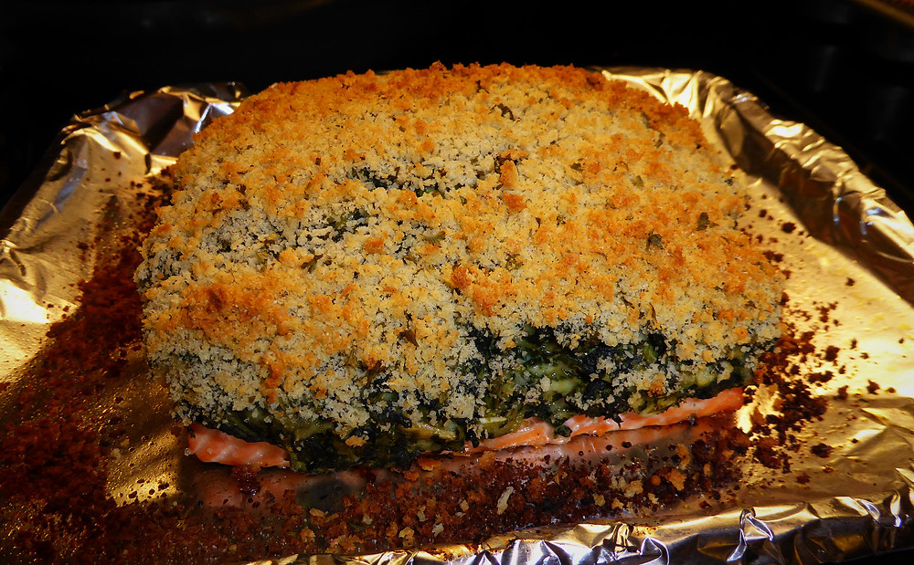 Salmon with Spinach Parmesan Topping