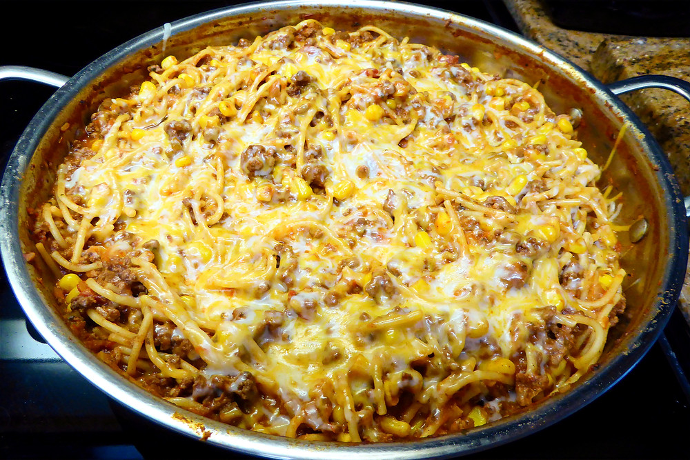 Too Tired To Cook Dinner:  Tex Mex Beef Noodle Skillet