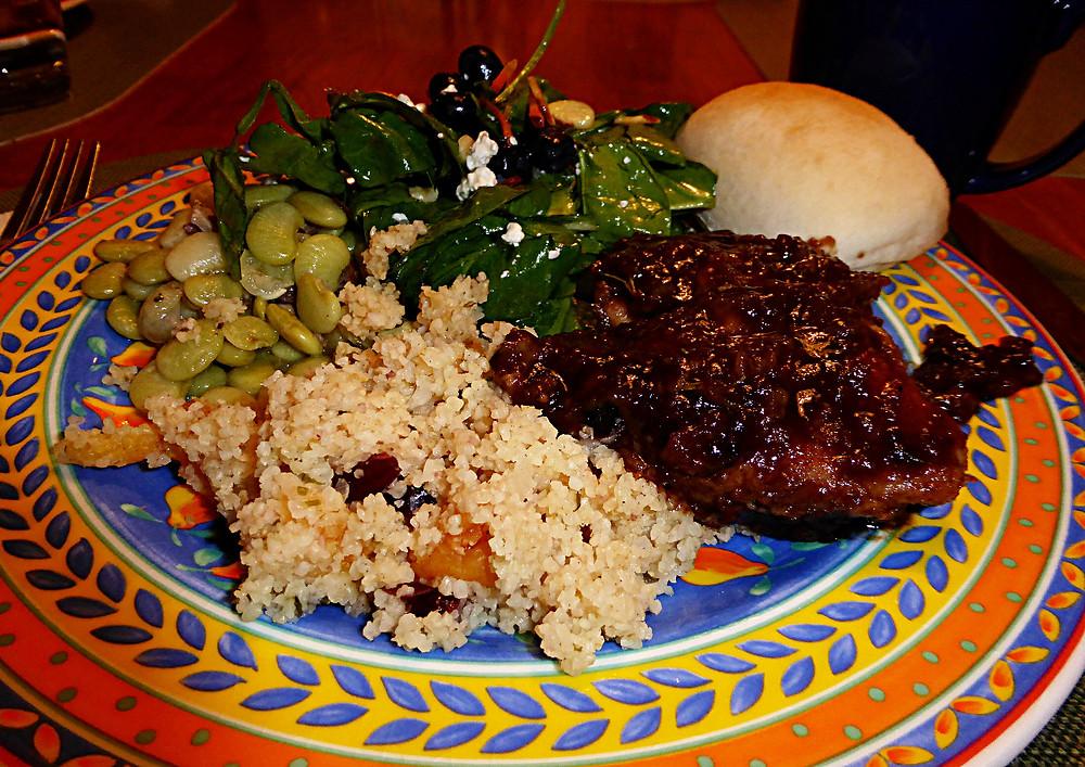 Pork Tenderloin With Fig and Balsamic Glaze and Fruity Bulgur Pilaf