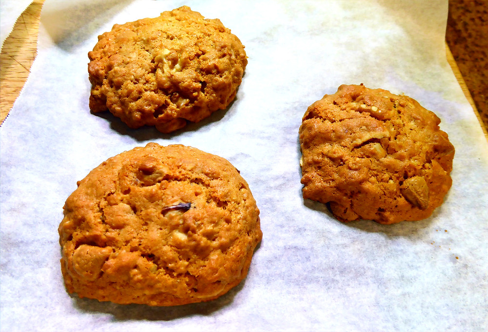 Air Fryer Caramel Walnut Cookies with butterscotch morsels and oatmeal