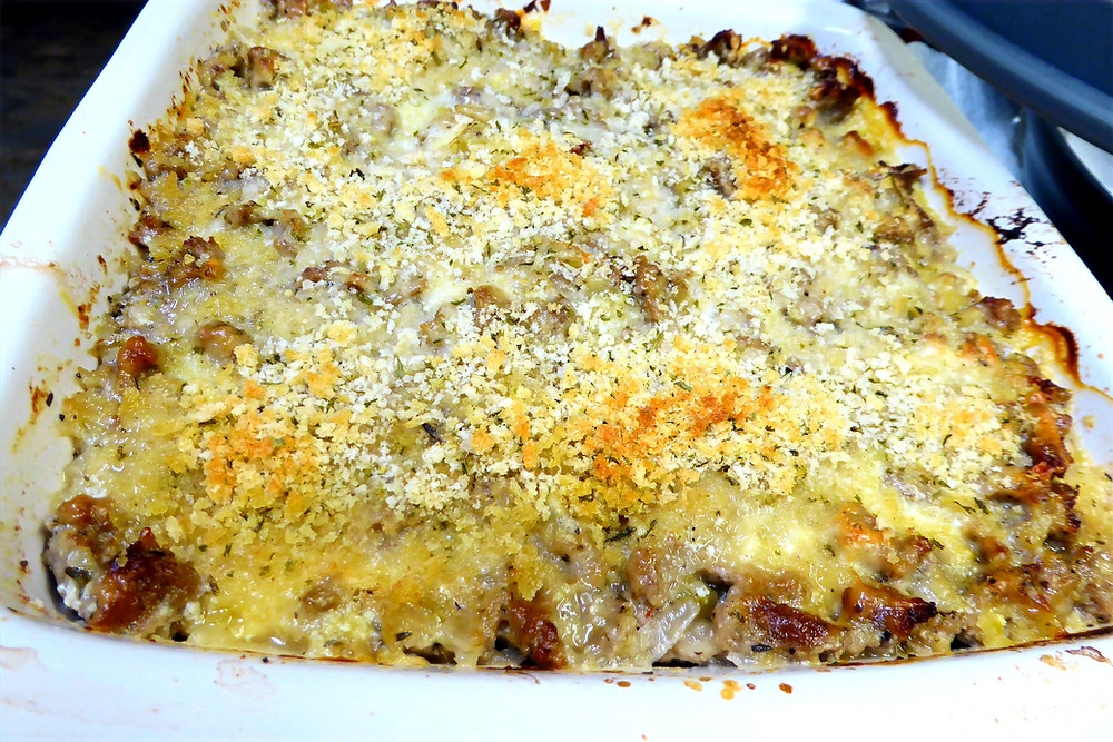 Spaghetti Squash Bake with Turkey Breakfast Sausage, Onions, Cheese, Ricotta Yum!