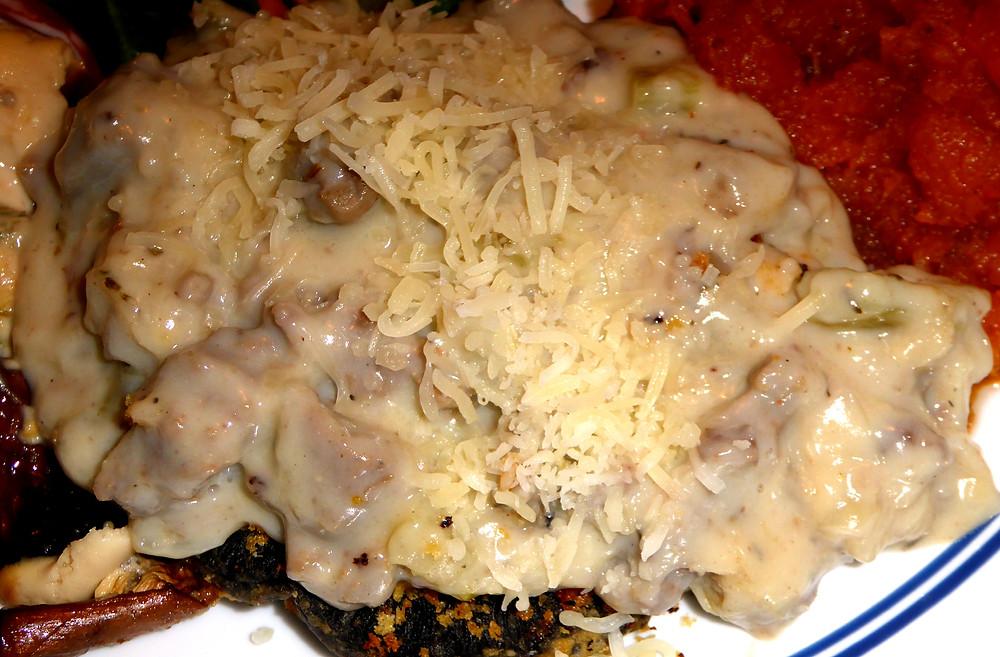 Portobello Mushroom Patties with Turkey Sausage Gravy