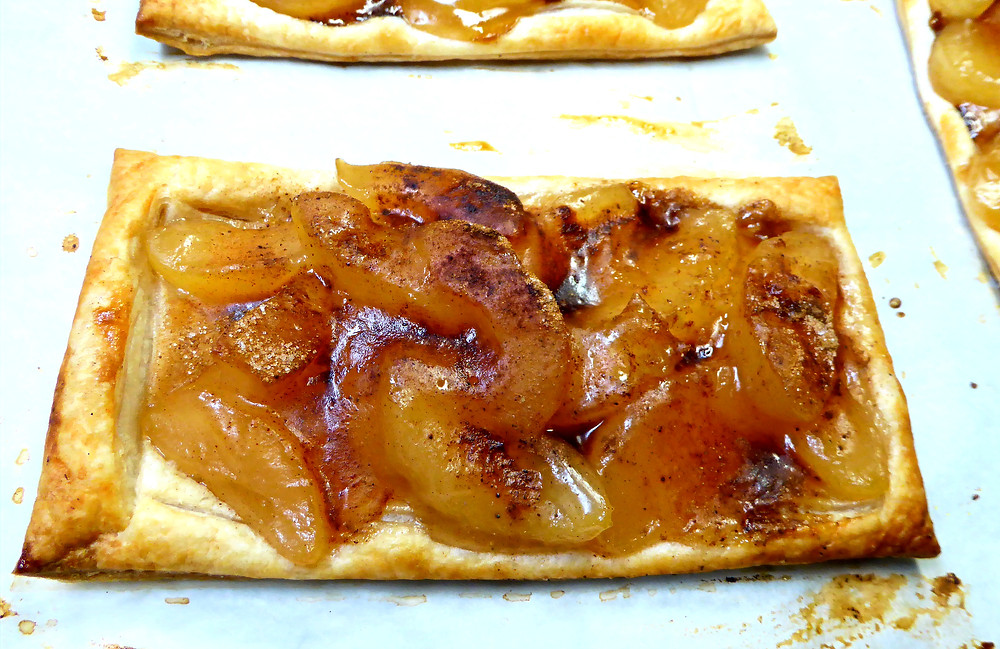Open-face Apple Slab Pies Made With Puff Pastry and Apple Pie Filling