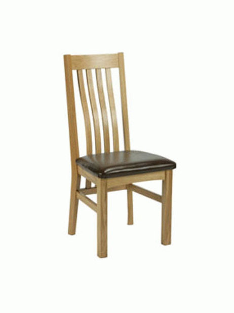 Harrington oak chair with leather seat