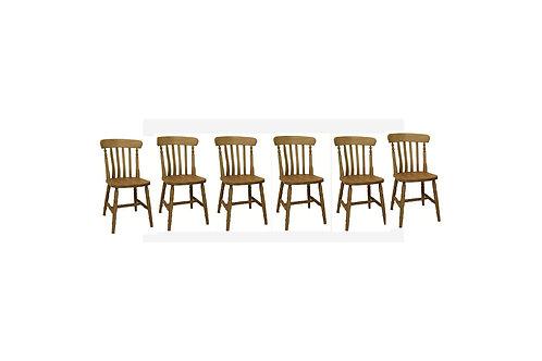 Set of six slatback chairs