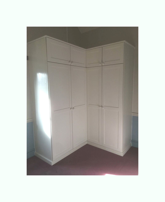 Farrow and Ball Clunch and a corner wardrobe