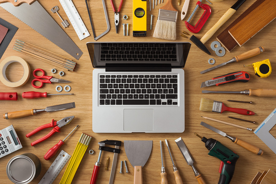 Tools on a desk.