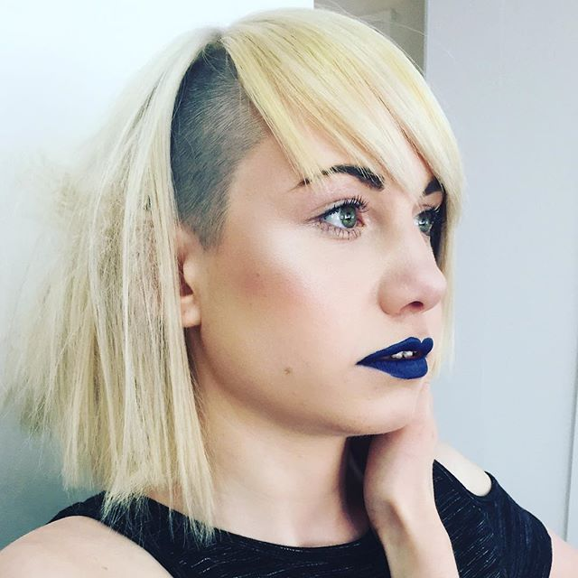 Makeup trial for a hair competition. Bold blue lips with glossy lids and glowing skin