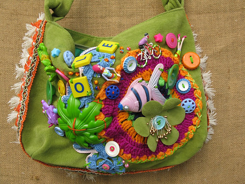Wearable Art: seaside bag: assemblage on an upcycled handbag