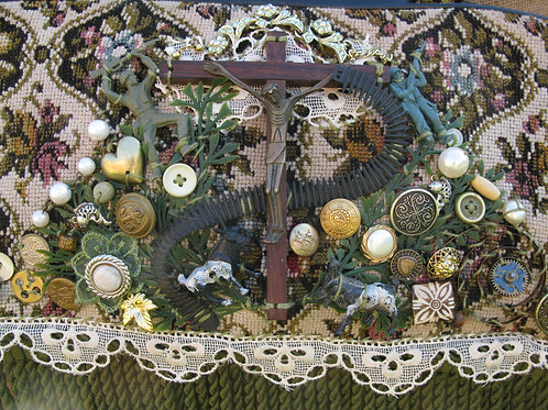 Wearable Art:   religious assemblage on an upcycled knitting bag