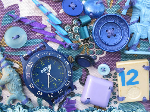 Wearable Art:  'purple stuff': assemblage on an upcycled handbag